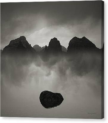 Rock And Peaks Canvas Print by Dave Gordon