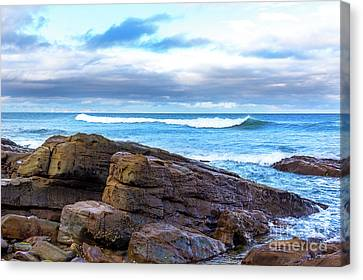 Canvas Print featuring the photograph Rock And Wave by Perry Webster