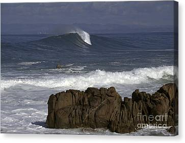 Canvas Print featuring the photograph Rock And Wave by Stan and Anne Foster