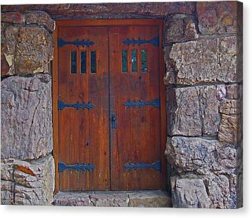 Canvas Print featuring the photograph Rock Building Doors by Tammy Sutherland