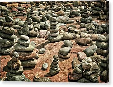 Rock Cairns At Buddha Beach - Sedona Canvas Print