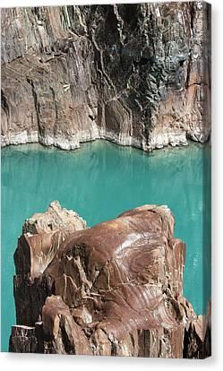 Canvas Print featuring the photograph Rock Formation Of Zanskar, Ladakh, 2009 by Hitendra SINKAR