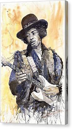 Rock Jimi Hendrix 01 Canvas Print by Yuriy  Shevchuk