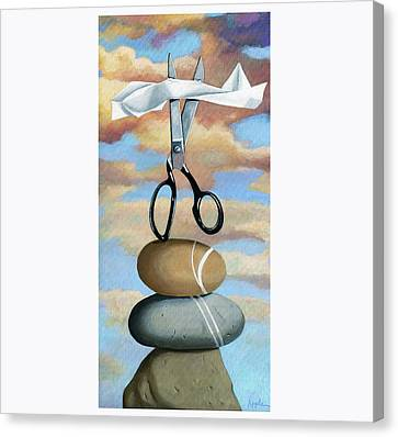 Canvas Print featuring the painting Rock, Paper, Scissors by Linda Apple