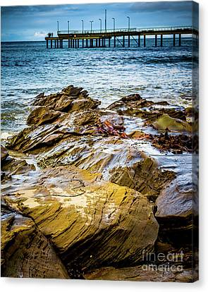Canvas Print featuring the photograph Rock Pier by Perry Webster