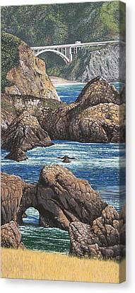 Rock Point Bridge Big Sur Canvas Print by Andrew Palmer