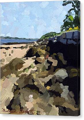 Rock Wall Looking South On Ten Pound Island, Gloucester, Ma Canvas Print