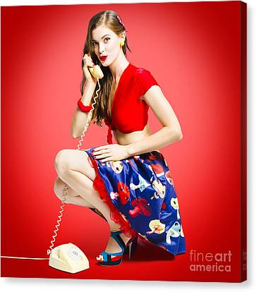 Rockabilly Gal Talking The Talk On Old Telephone Canvas Print by Jorgo Photography - Wall Art Gallery