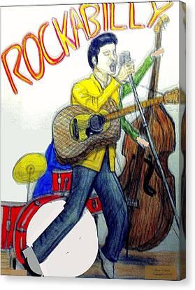 Rockabilly Illustration Canvas Print by Larry E Lamb