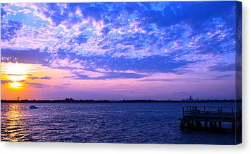 Canvas Print featuring the photograph Rockaway Point Dock Sunset Violet Orange by Maureen E Ritter
