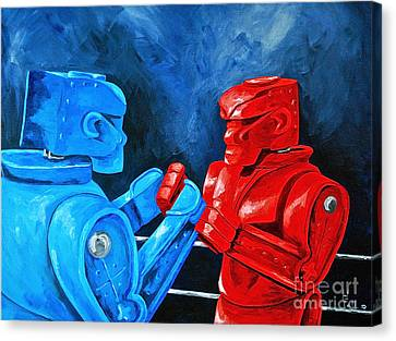 Rockem Sockem 2 The Rematch Canvas Print by Herschel Fall