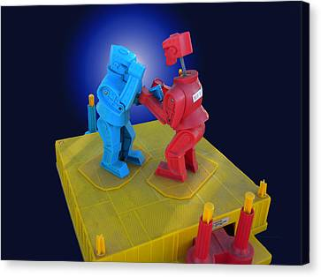 Rockem Sockem Robots Toy Canvas Print by Thomas Woolworth