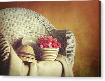 Rocking Chairs Canvas Print - Rocker With Bowls by Tom Mc Nemar