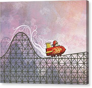 Rocket Me Rollercoaster Canvas Print by Dennis Wunsch