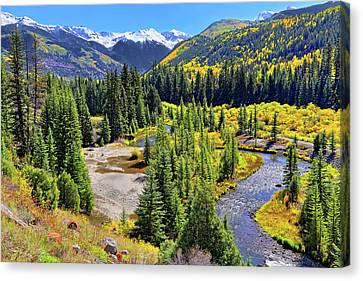 Canvas Print featuring the photograph Rockies And Aspens - Colorful Colorado - Telluride by Jason Politte