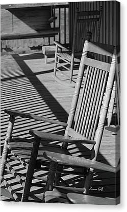 Rocking Chair Porch In Black And White Canvas Print by Suzanne Gaff