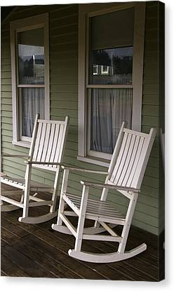 Rocking Chairs Canvas Print - Rocking Chairs On The Porch by Todd Gipstein