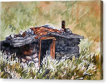 Canvas Print featuring the painting Rocking Miners Cabin by Pat Crowther