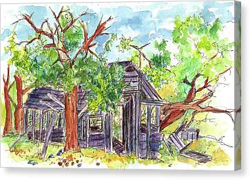 Canvas Print featuring the painting Rockland Cabin by Cathie Richardson