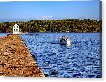 Penobscot Bay Canvas Print - Rockland Harbor Breakwater Light And Passing Craft by Olivier Le Queinec