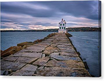 Rockland Harbor Breakwater Light Canvas Print by Rick Berk