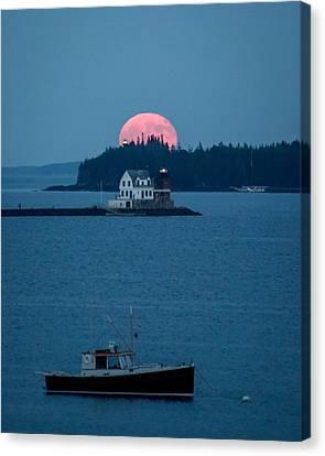 Rockland Harbor Full Moon Canvas Print