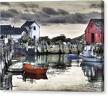 Canvas Print featuring the photograph Rockport Harbor Early Morning by Tom Cameron