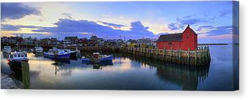 Canvas Print featuring the photograph Rockport Harbor Sunset Panoramic With Motif No1 by Joann Vitali