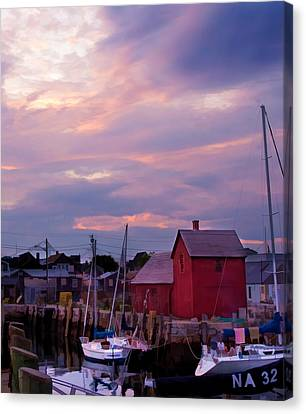 Canvas Print featuring the photograph Rockport Sunset Over Motif #1 by Jeff Folger