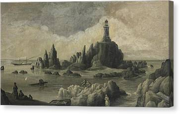 Rocks And Lighthouse Canvas Print