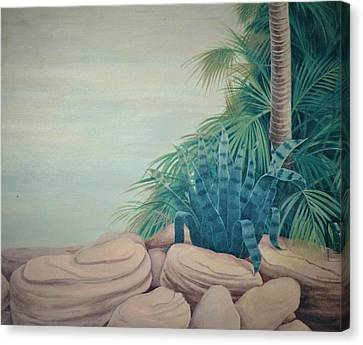 Rocks And Palm Tree Canvas Print