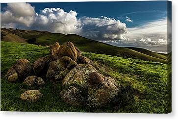 East Bay Canvas Print - Rocks And Storm Clouds On Mission Peak by Fred Rowe