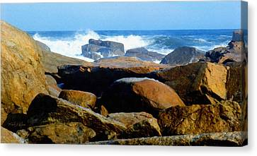 Rocks And Surf Canvas Print by Frank Wilson