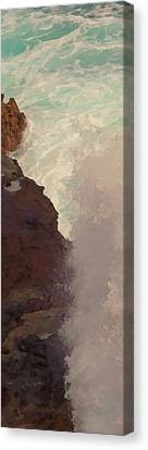 Rocks And Surf Canvas Print by Michael Flood