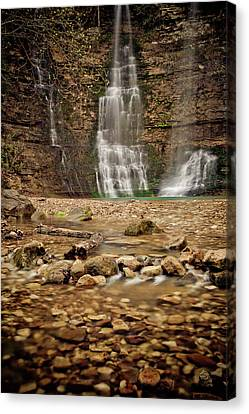 Rocks And Waterfalls Canvas Print by Iris Greenwell