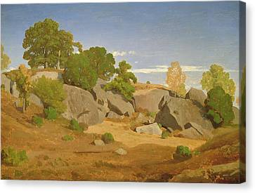 Rocks At Fontainebleau Canvas Print by Theodore Caruelle d'Aligny
