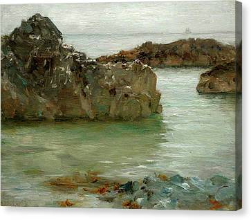 Canvas Print featuring the painting Rocks At Newport by Henry Scott Tuke