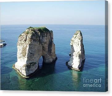 Rocks In Sea Canvas Print