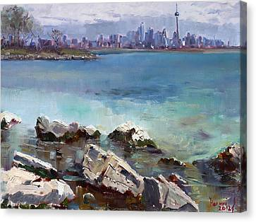 Rocks N' The City Canvas Print by Ylli Haruni