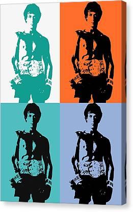 Boxer Canvas Print - Rocky Balboa Pop Art Panels by Dan Sproul