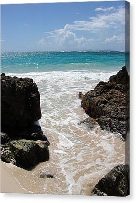 Canvas Print featuring the photograph Rocky Beach In The Caribbean by Margaret Bobb