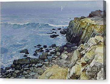 Canvas Print featuring the painting Rocky Beach by Sergey Zhiboedov
