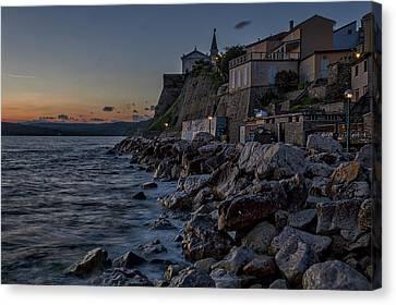 Canvas Print featuring the photograph Rocky Coast At Dawn - Piran - Slovenia by Stuart Litoff