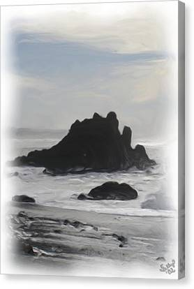 Canvas Print featuring the painting Rocky Coast Newport Oregon by Shelley Bain
