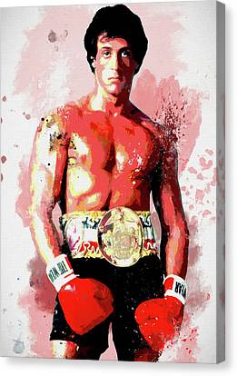 Boxer Canvas Print - Rocky Colorful Splatter by Dan Sproul