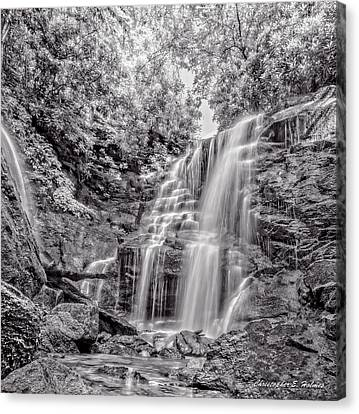 Canvas Print featuring the photograph Rocky Falls - Bw by Christopher Holmes