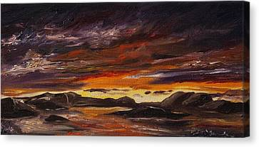 Canvas Print featuring the painting Rocky Landscape by Diane Daigle