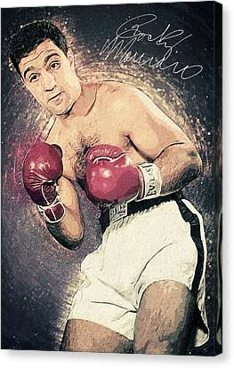 Autographed Art Canvas Print - Rocky Marciano by Taylan Apukovska