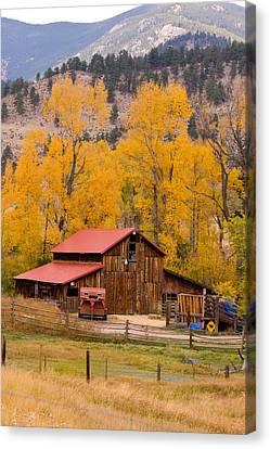 Rocky Mountain Barn Autumn View Canvas Print by James BO  Insogna