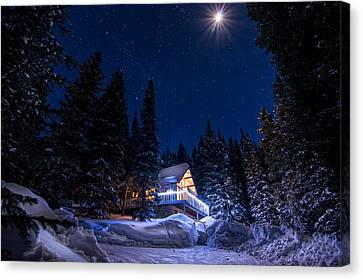 Rocky Mountain Chalet Canvas Print by Michael J Bauer
